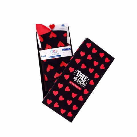 Red Hearts - Crew Socks - Black - Tale Of Socks