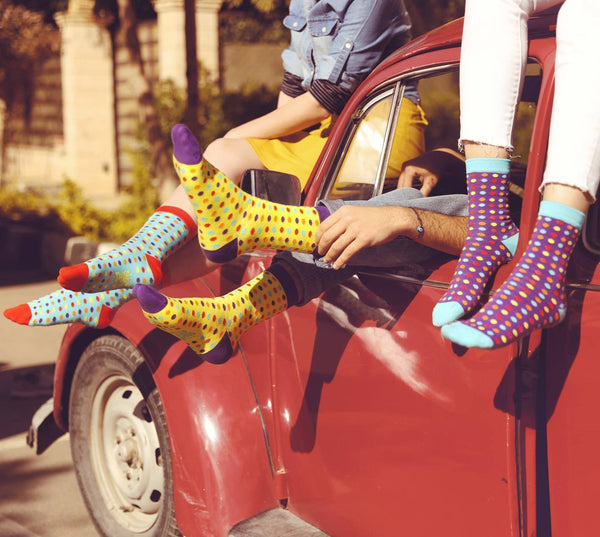 Small Polka Dots Crew Socks - Yellow - Tale Of Socks