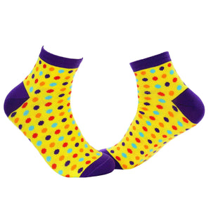Small Polka Dots Quarter Socks - Yellow - Tale Of Socks