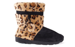 Leopard and Black Micro Boot