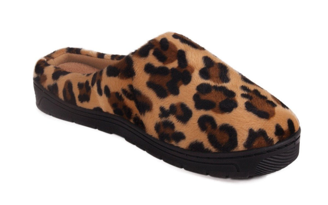 Brown Leopard Clog Slippers