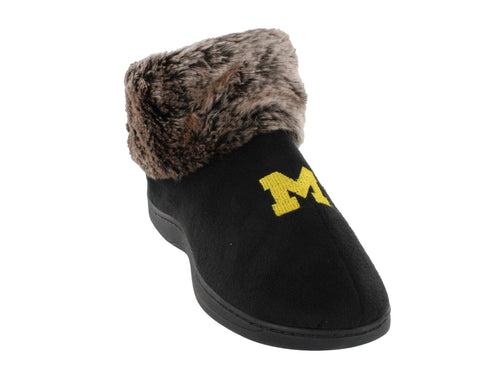 Michigan Wolverines Faux Sheepskin Furry Top Indoor/Outdoor Slippers