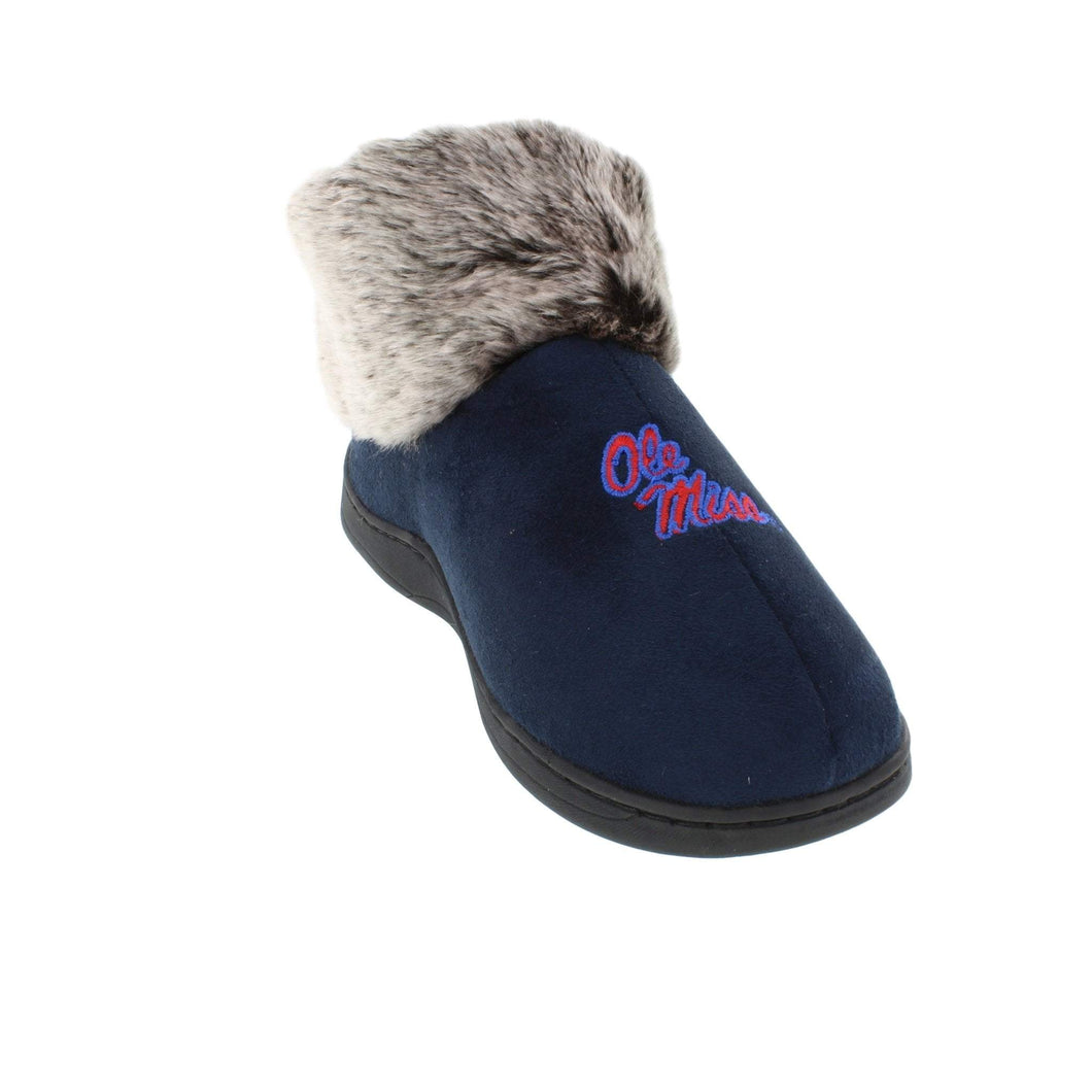 Mississippi Rebels Faux Sheepskin Furry Top Indoor/Outdoor Slippers