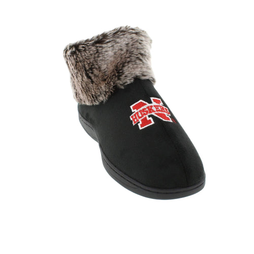 Nebraska Cornhuskers Faux Sheepskin Furry Top Indoor/Outdoor Slippers