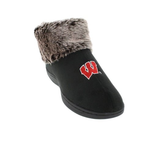 Wisconsin Badgers Faux Sheepskin Furry Top Indoor/Outdoor Indoor/Outdoor Slippers