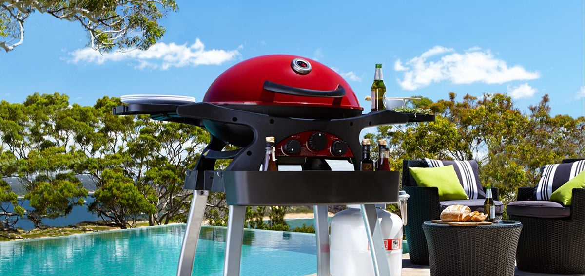 Ziegler and Brown BBQ Chilli Red Tripple Grill Hero Shot Next to Pool