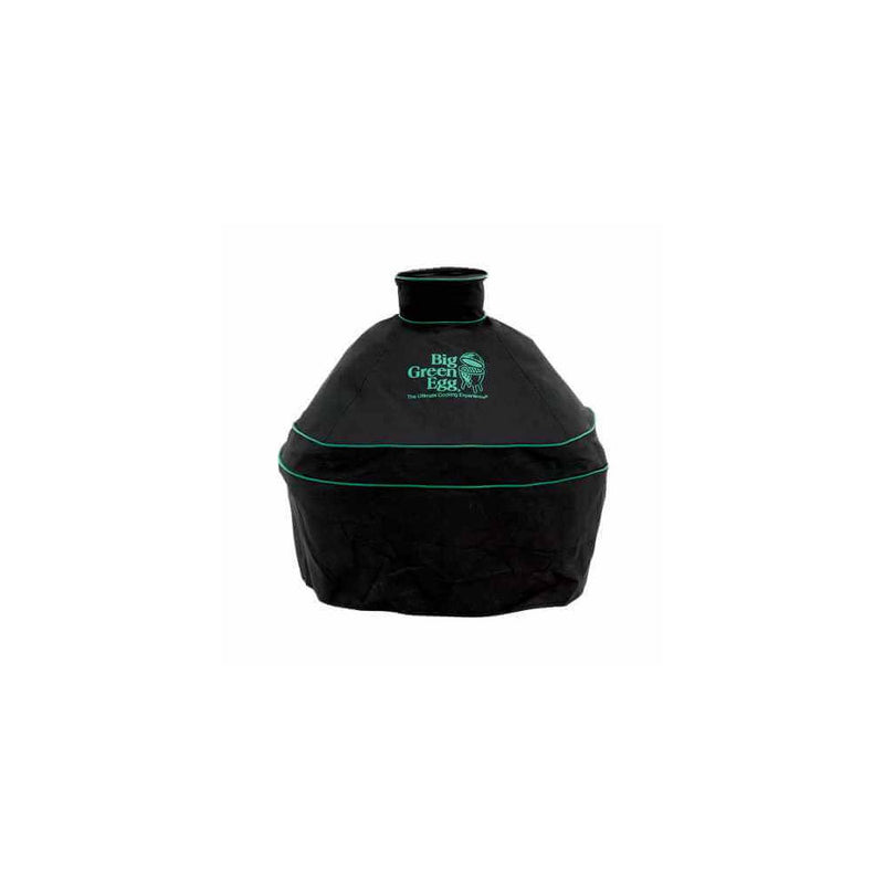 Big Green Egg Minimax cover. Black with green trim and embroidery. Front view on white background.
