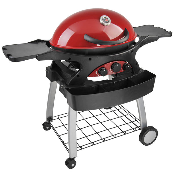 Ziegler & Brown BBQ Triple Grill Chilli Red Mobile Cart Bundle