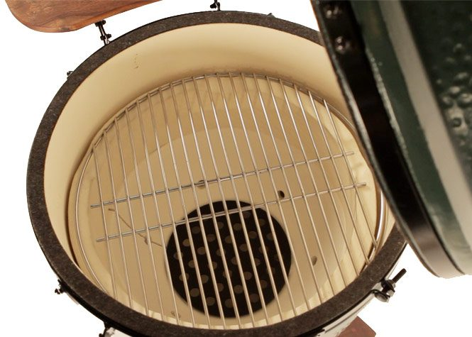 Big Green Egg Large Internal View of grid grill and firebox