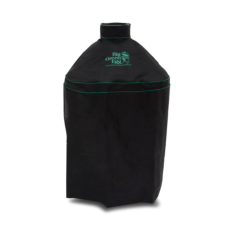 Big Green Egg Medium Egg Cover. Black with green piping and embroidery on white background.