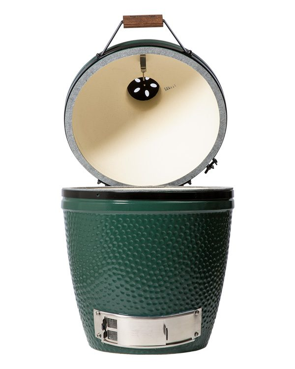 Big Green Egg Medium product image with lid open. Front view on white background.