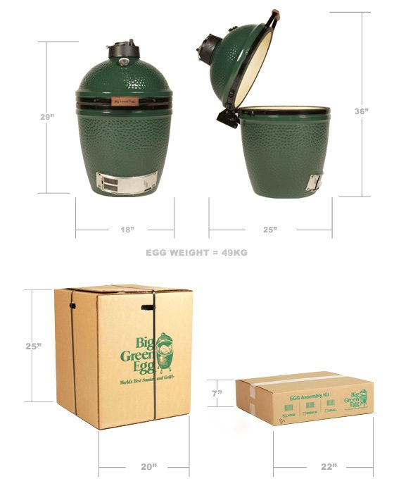 Big Green Egg Medium product front and side image with dimensions on  white background. Also includes box carton dimensions.