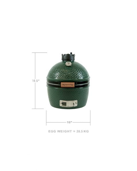 Big Green Egg Minimax product image. Front view on white background with dimensions.