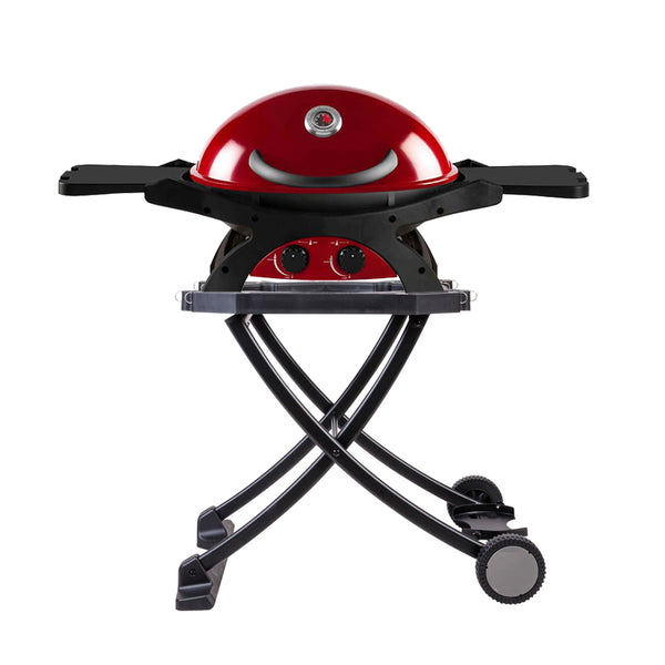 Ziegler & Brown BBQ Twin Grill Chilli Red Folding Cart Bundle