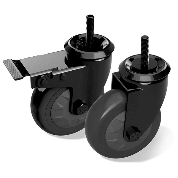 "Big Green Egg Locking Caster Kit, 4""/10cm, 1 Locking, 1 Non-Locking for Wooden Tables"