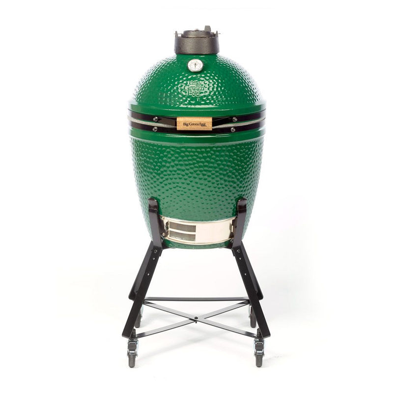 Big Green Egg Medium in Nest. Front product view on white background.