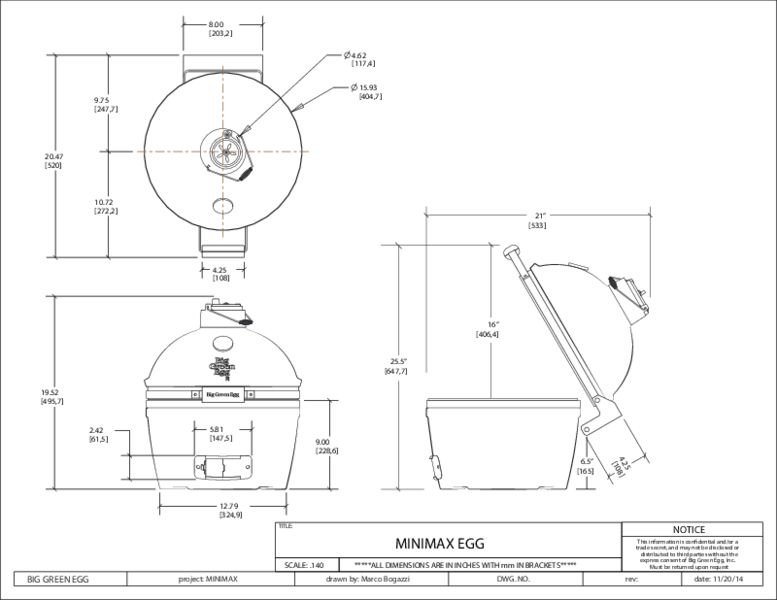 Big Green Egg Minimax dimensioned line drawing on white background.