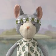Hazel Village - Gracie Cat in Tea Party Dress and Flower Crown