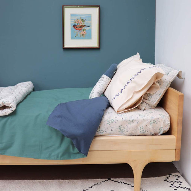 Camomile London - Reversible Duvet Cover - Single - Midnight Teal