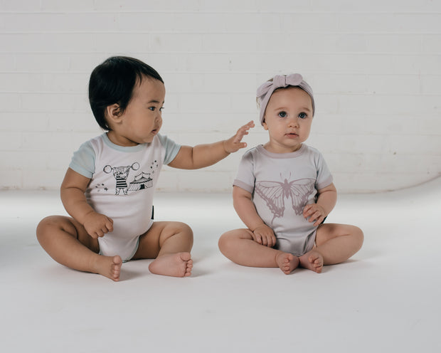 Aster and Oak - Strong Man Print Raglan Onesie