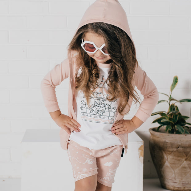 Aster and Oak - Peach Circus Hooded Lightweight Cardigan