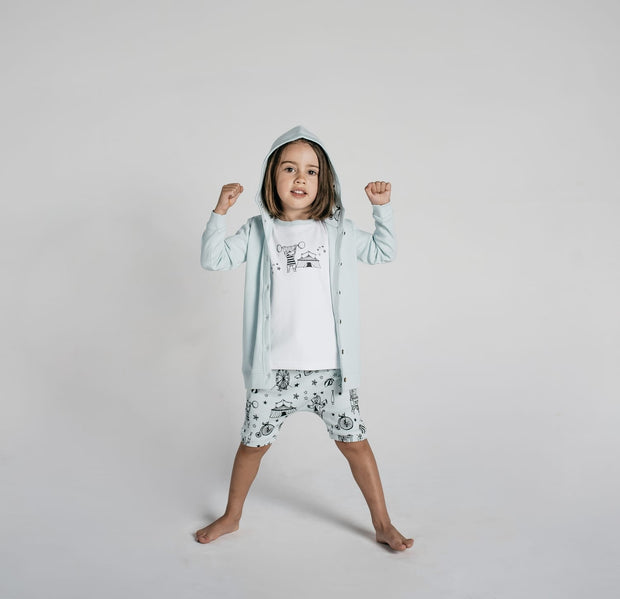 Aster and Oak - Mint Circus Hooded Lightweight Cardigan
