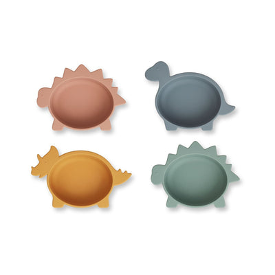 Liewood - Iggy Silicone Bowls - 4 Pack - Dino Blue Multi Mix