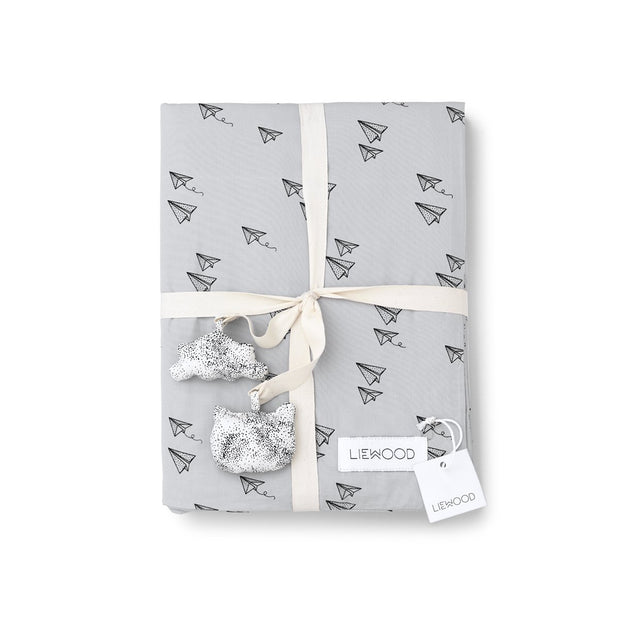 Liewood - Carl Adult Bedding Single - Paper Plane Dumbo Grey