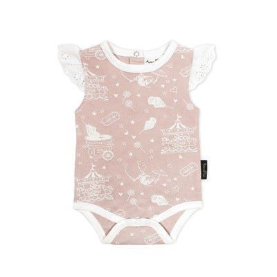 Aster and Oak - Flutter Onesie Peach Circus