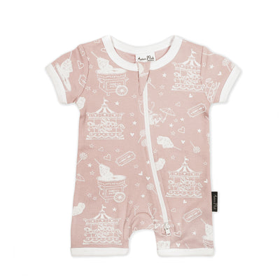 Aster and Oak - Short Zip Romper Peach Circus