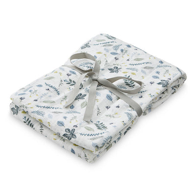 Cam Cam Copenhagen - Printed Light Swaddle - Pressed Leaves Blue