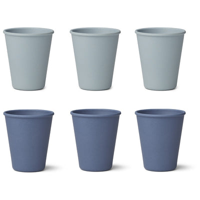 Liewood - 6 Pack Gertrud Bamboo Cups - Blue Mix