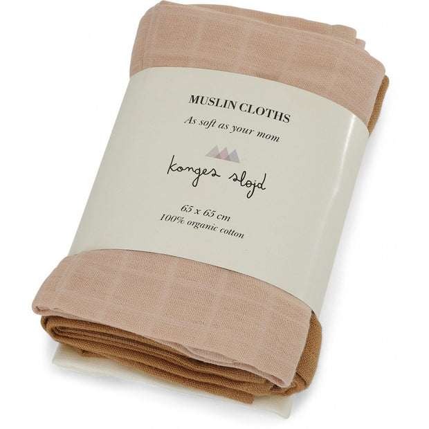 Konges Slojd - 3 Pack Muslin Cloths - Rose