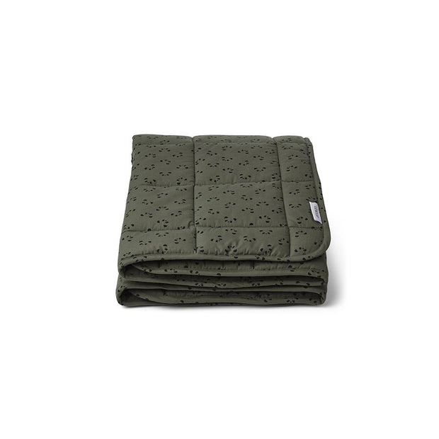 Liewood - Ebb Quilted Blanket - Panda Hunter Green