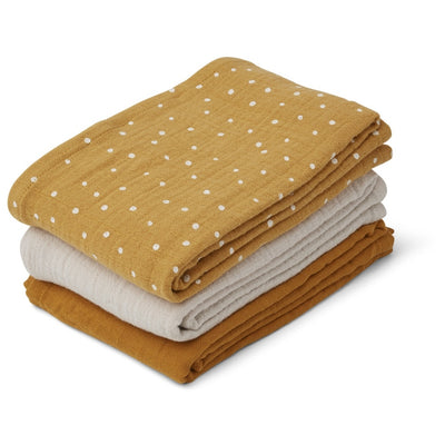 Liewood - 3 Pack Muslin Cloth - Cofetti Yellow Mix