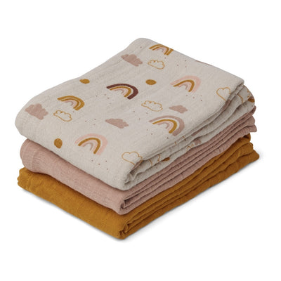 Liewood - 3 Pack Muslin Cloth - Rainbow Love Mix