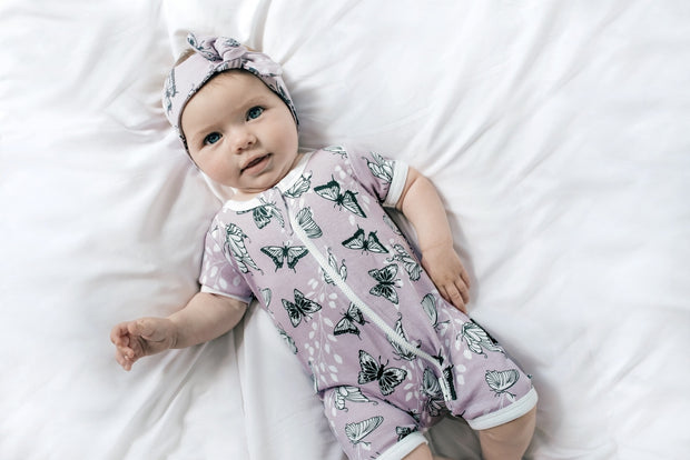 Aster and Oak - Short Zip Romper Butterfly