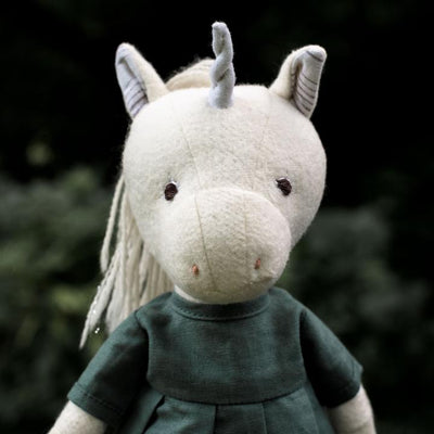 Limited Edition Peaseblossom Unicorn in River Green Linen Dress Hazel Village