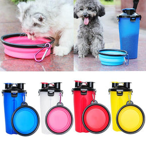 2-In-1 Pet Travel Water & Food Bottle with 2 Fold-able Bowls