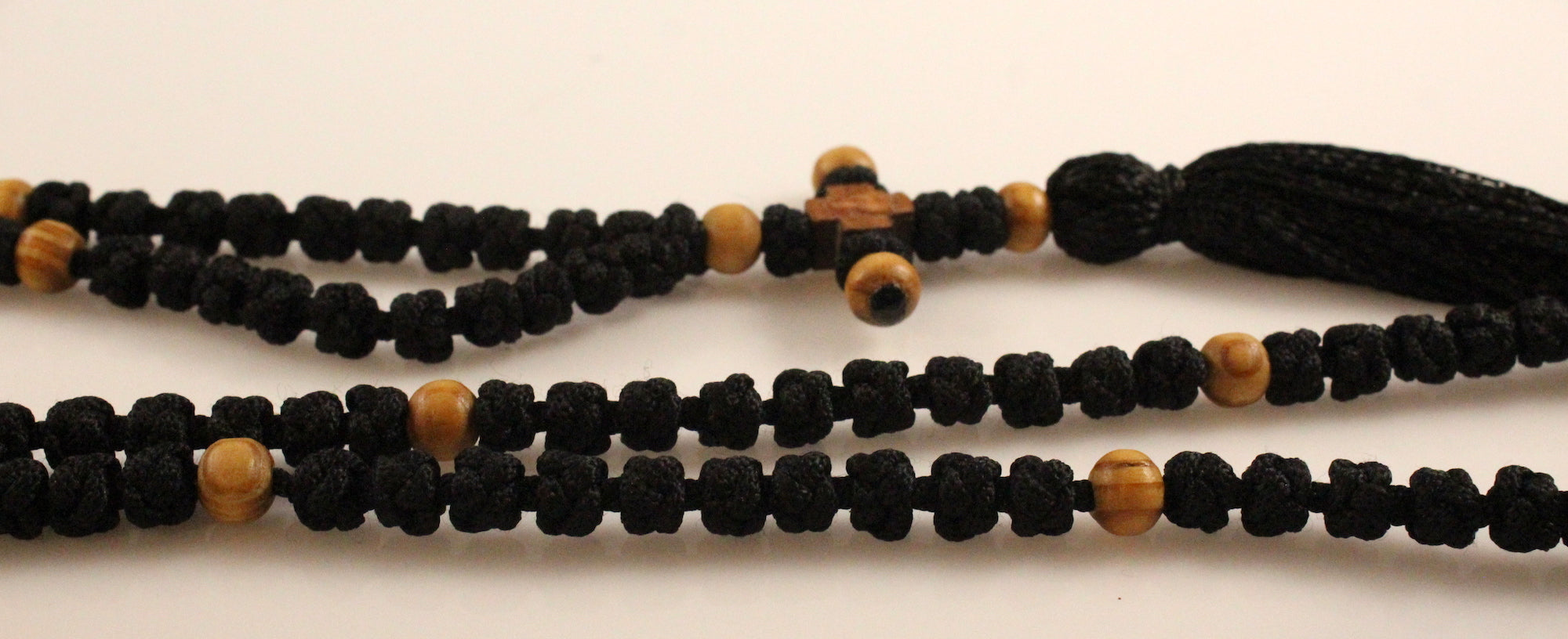 Orthodox Prayer Rope Black Color with 100 Knots and Wooden Beads