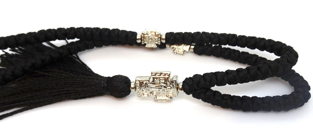 Extra Long Orthodox Prayer Rope with 100 Knots and Tassel in Black Color - anastasisgiftshop.com