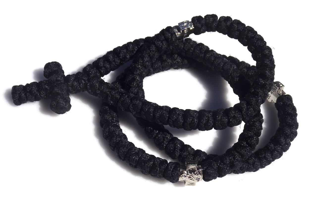 100 Knots Extra Long Orthodox Prayer Rope with Knotted Cross
