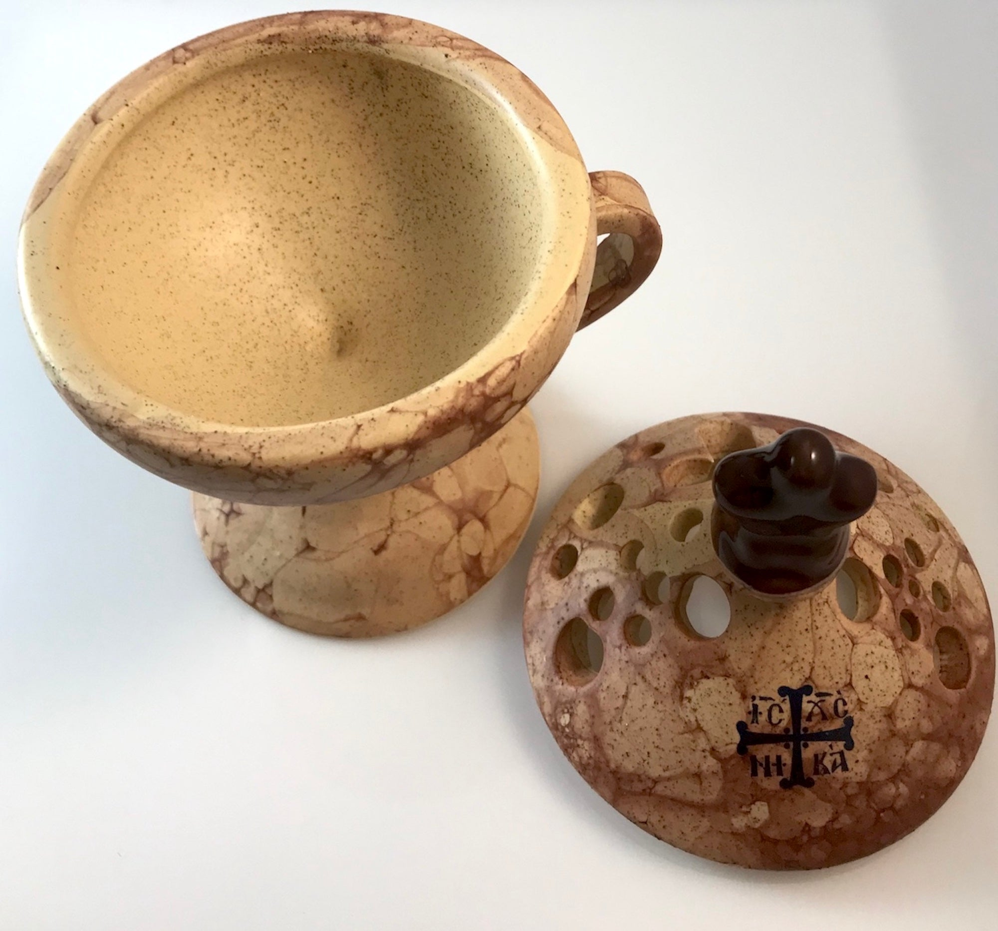 Ceramic Hand Censer - Incense Burner with Top Cover