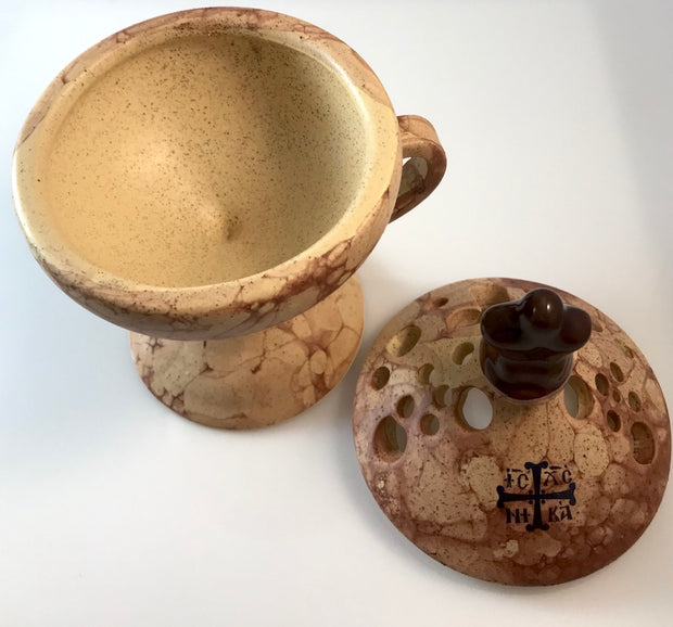 Ceramic Hand Censer - Incense Burner with Top Cover - anastasisgiftshop.com