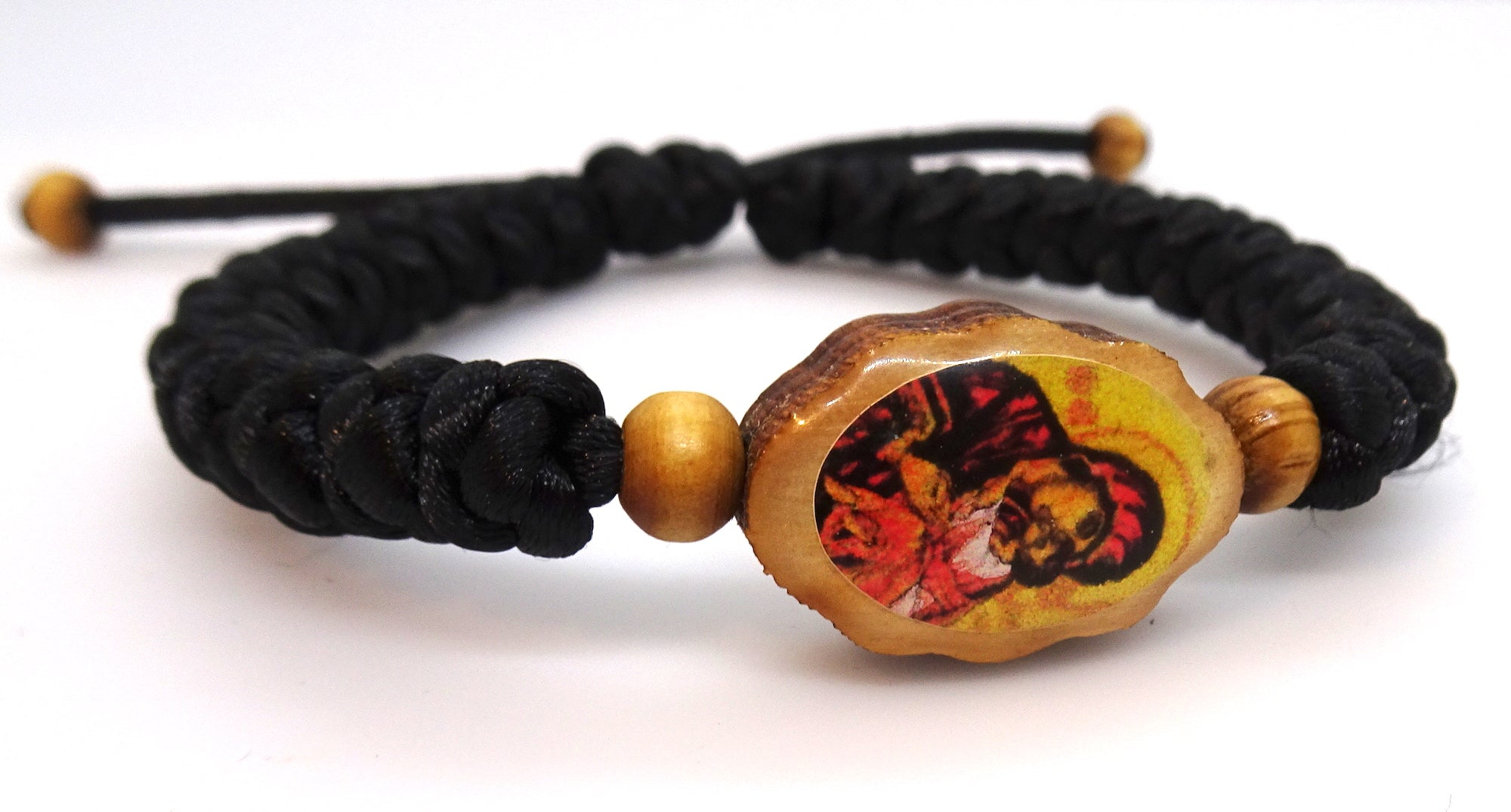 Adjustable Orthodox Christian Bracelet with Double-sided Wooden Icon Ornament