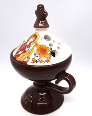 Ceramic Incense Burner in Brown Color with Cover - anastasisgiftshop.com