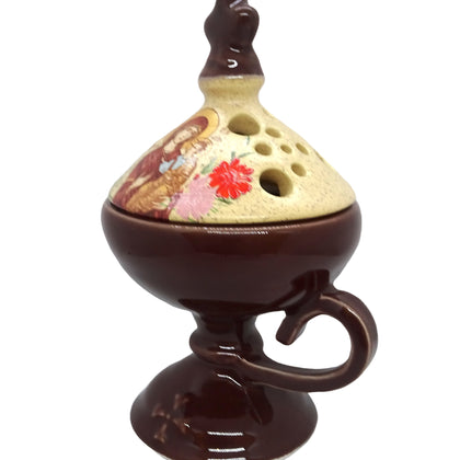 Brown Color Floral Incense Burner Orthodox Censer with Top Cover