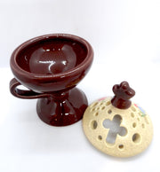 Brown Color Floral Incense Burner Orthodox Censer with Top Cover - anastasisgiftshop.com