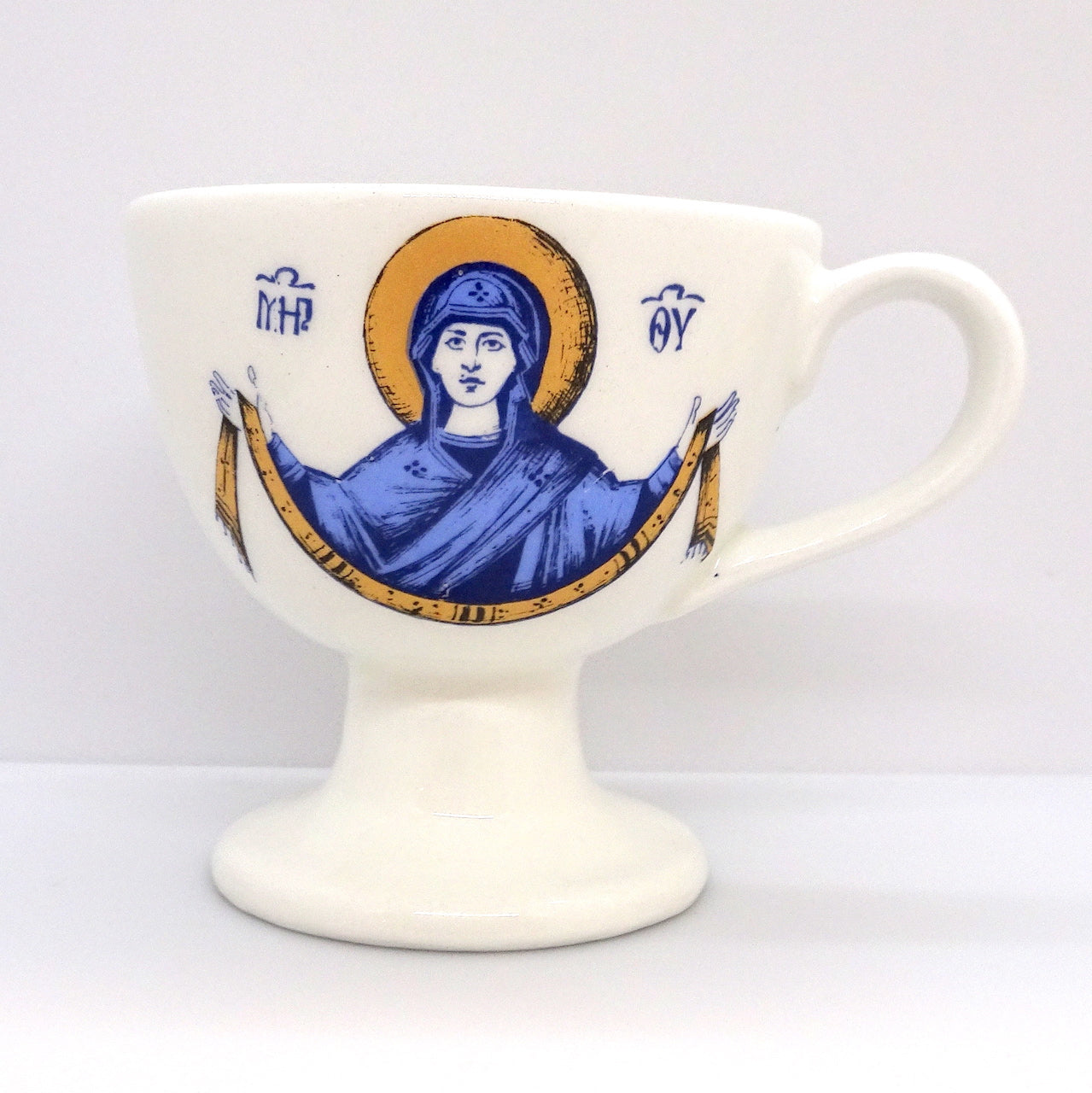 White Color Ceramic Hand Censer with the image of the Mother of God