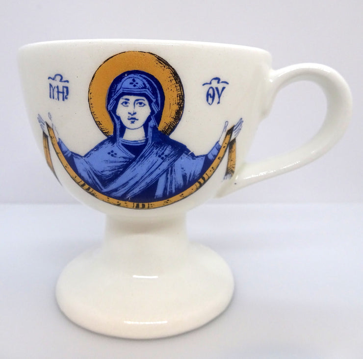 White Color Ceramic Hand Censer with the image of the Mother of God - anastasisgiftshop.com